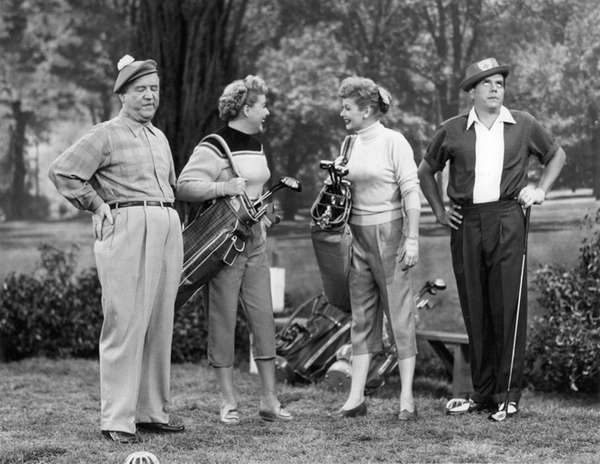 From left, William Frawley, Vivian Vance, Lucille Ball,
