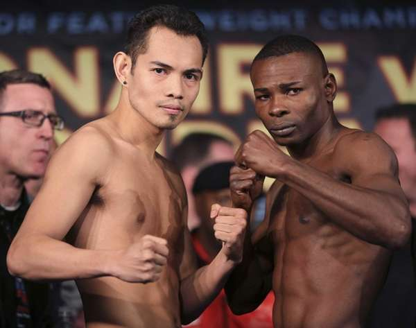 Boxers Nonito Donaire, left, and Guillermo Rigondeaux pose