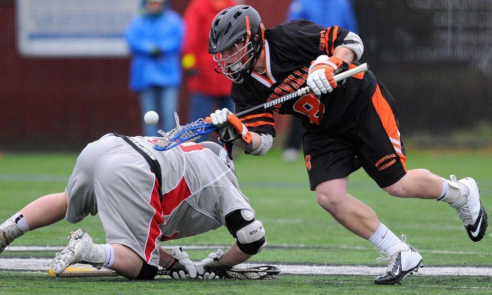 Hicksville junior Tom Kilmetis looks to gain possession