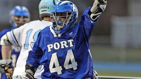 Port Washington's Luke Rizzo celebrates his goal against