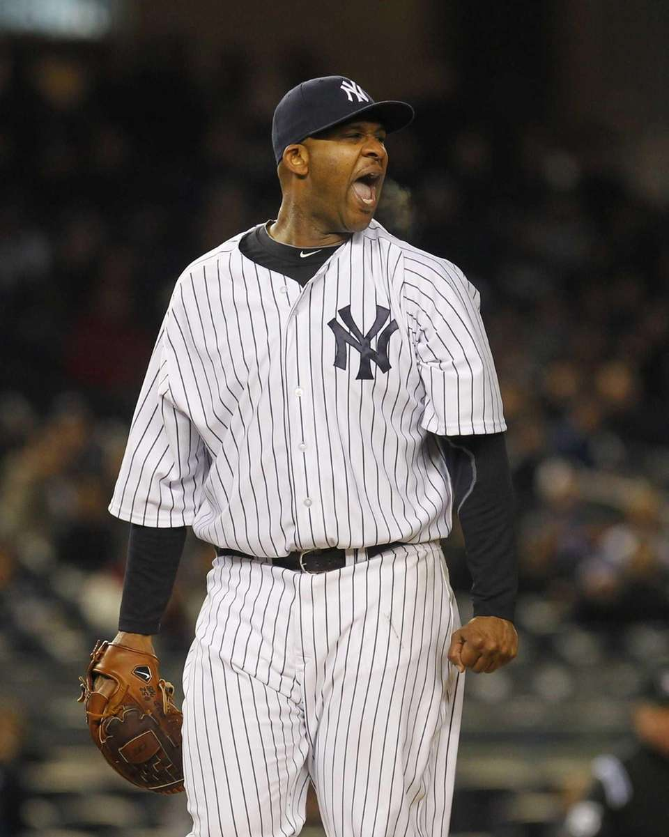 CC Sabathia of the Yankees reacts after starting
