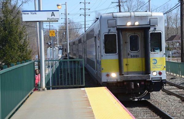 Track work on Long Island Rail Road's Hempstead