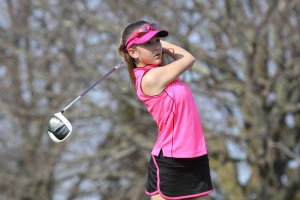 Deanna Confessore of Greenlawn, 12, watches her drive
