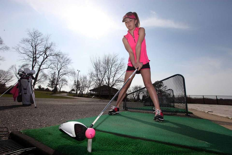 Deanna Confessore of Greenlawn, 12, lines up a