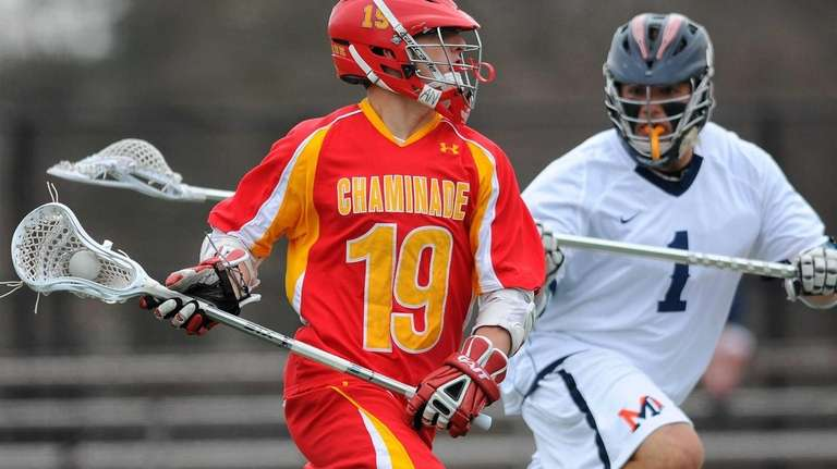 Chaminade's Ryan Lukacovic, left, looks to get past