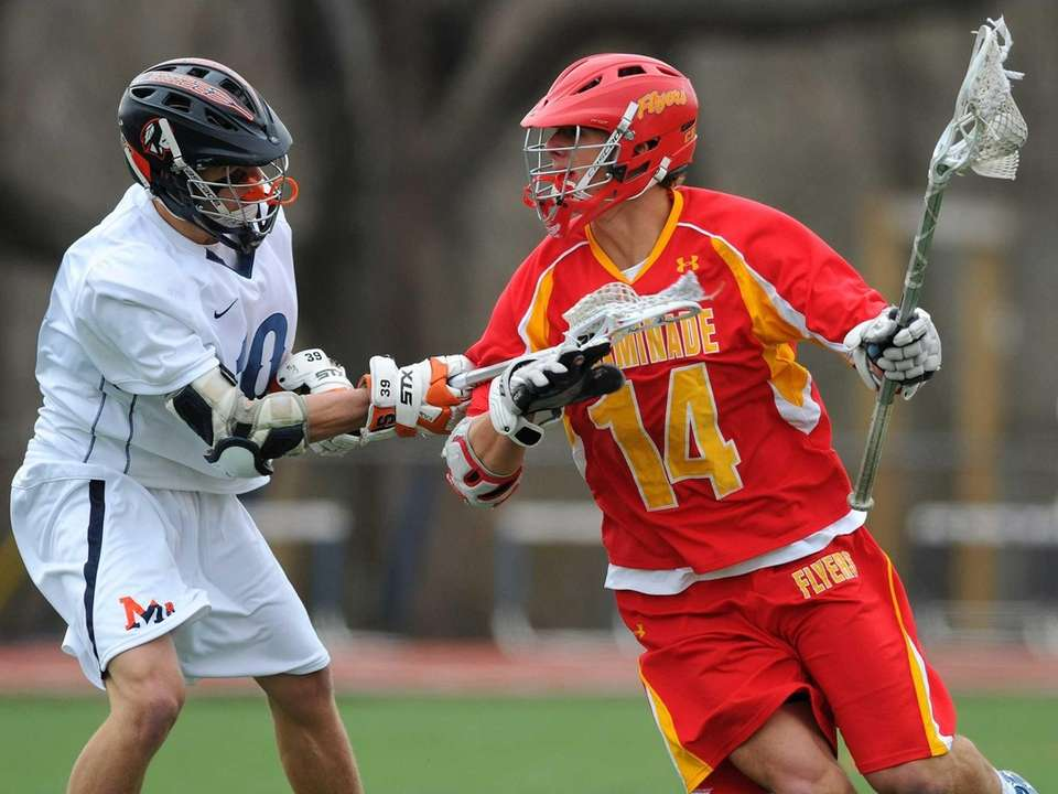 Chaminade's Thomas Zenker, right, gets pressured by Manhasset's