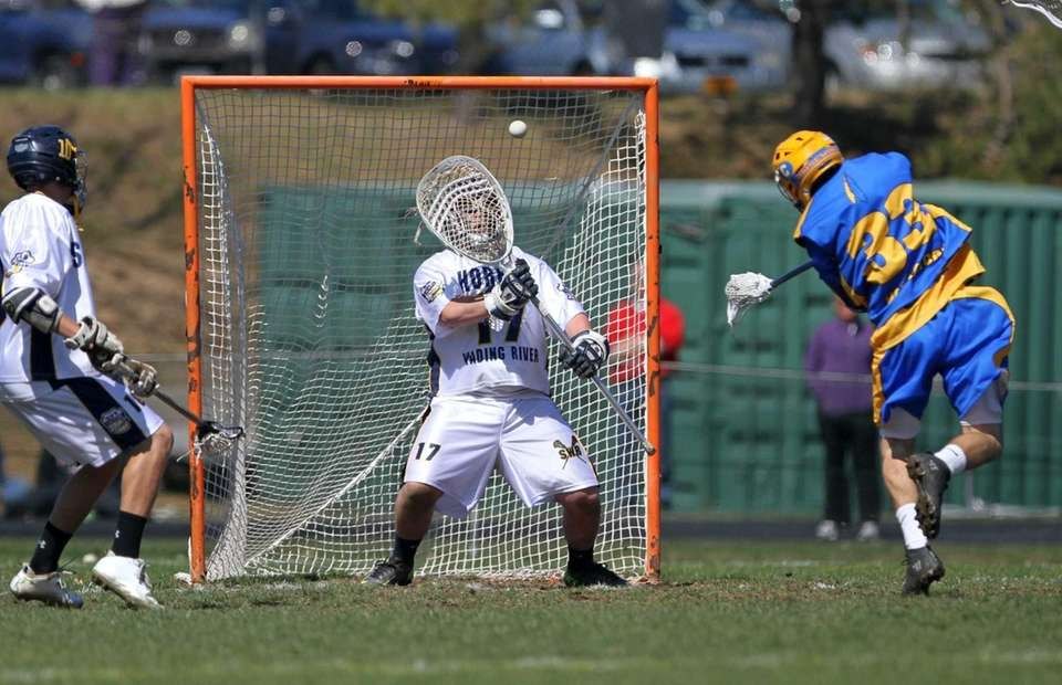 Shoreham-Wading River's Christian Palazotto makes a point-blank save