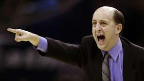 Houston Rockets coach Jeff Van Gundy tries to