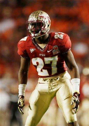 Florida State defensive back Xavier Rhodes stands on