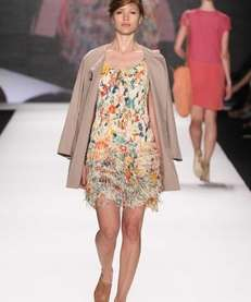 Vivienne Tam womenswear, including this garden-print pleated flapper