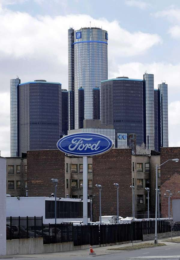 Ford signage is displayed outside of a dealership