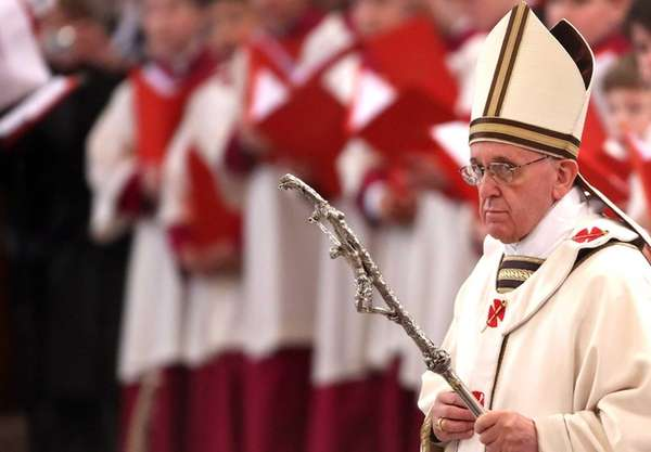 Pope Francis attends a Mass in Vatican City.