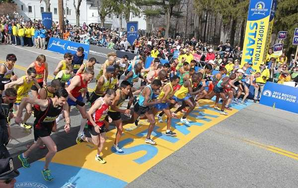 The elite men start the 117th running of