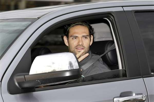 Mark Sanchez arrives for the first day of