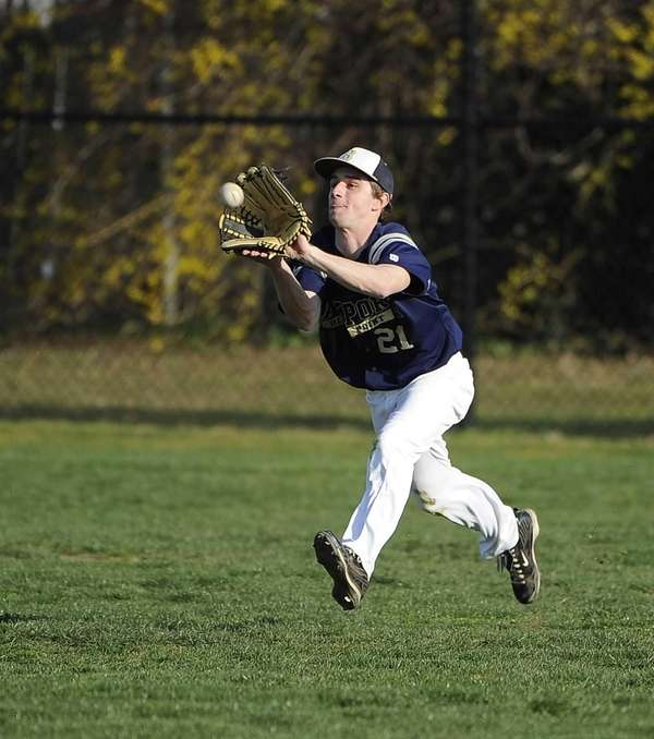 Bayport-Blue Point's Mike Alliegro makes the catch in