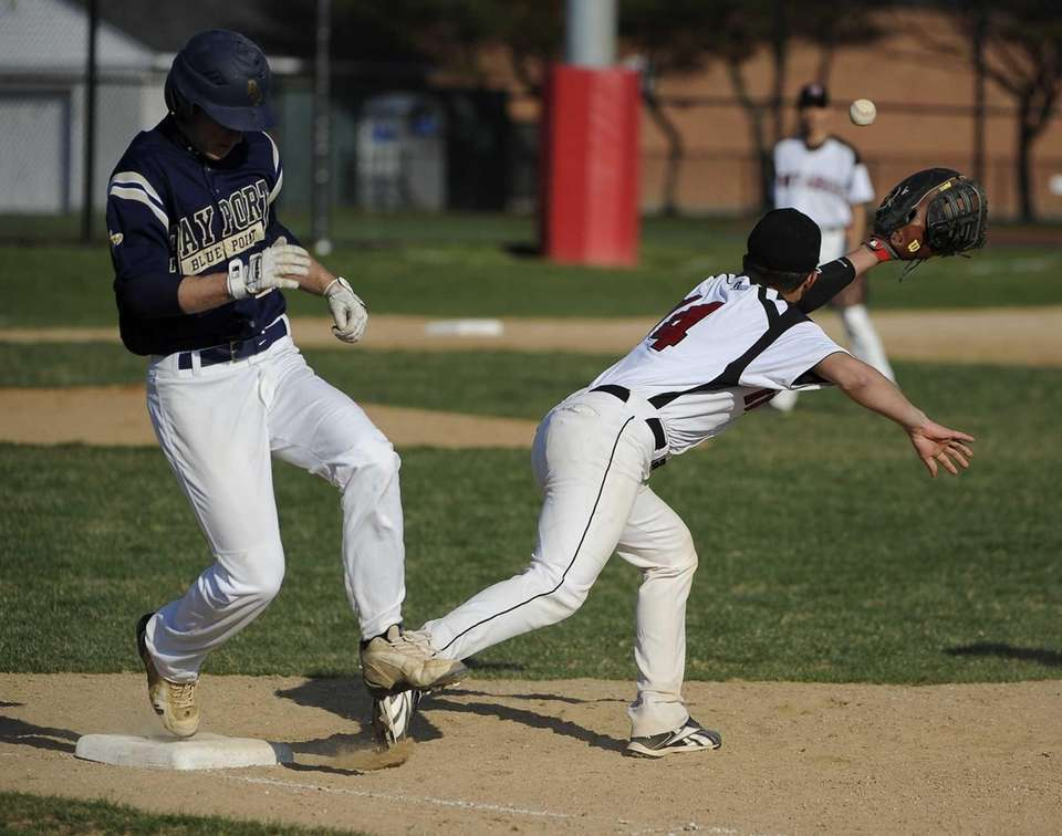 Bayport-Blue Point's Jack Piekos is safe at first