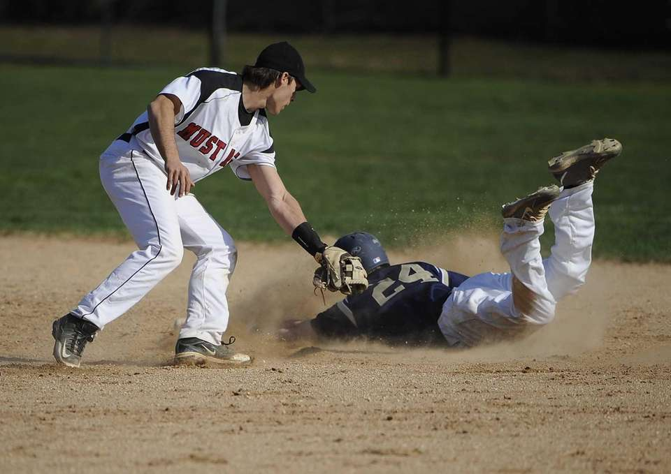 Bayport-Blue Point's Matt McKinnon slides safely into second