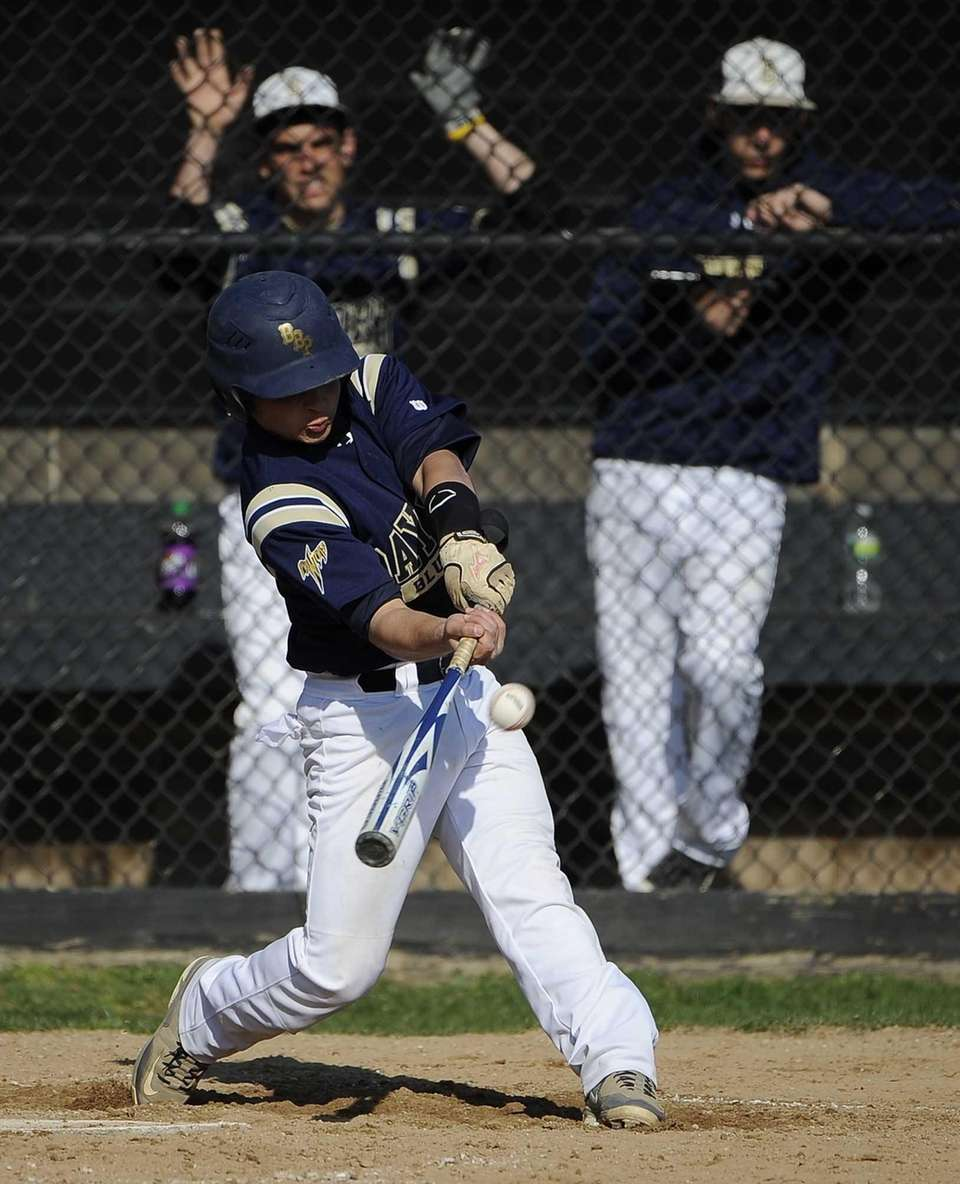 Bayport-Blue Point's Sal Geraci connects against Mount Sinai