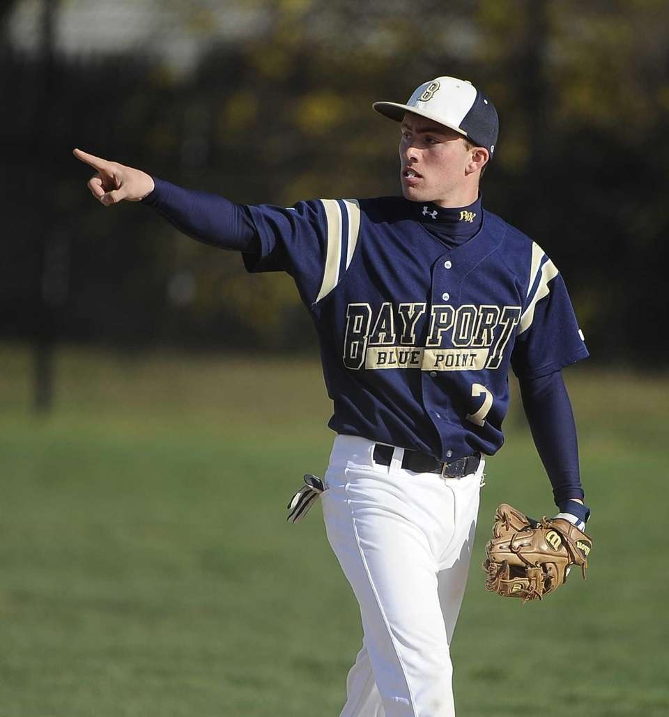 Bayport-Blue Point second baseman Matt White reacts after