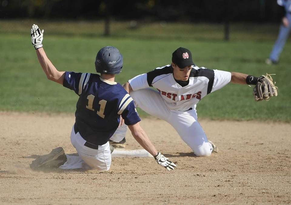 Bayport-Blue Point's Ryan Smith slides safely into second