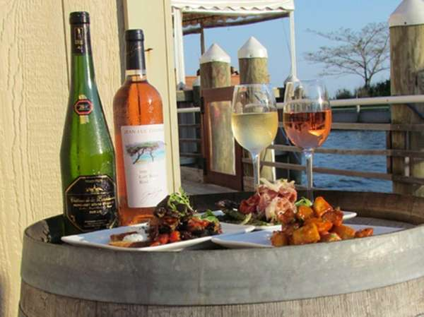 The wine bar, and its outdoor deck, are
