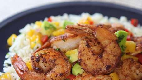 Shrimp is dusted in blackening spice, seared, and