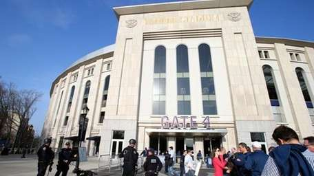 Police officers are on patrol outside Yankee stadium