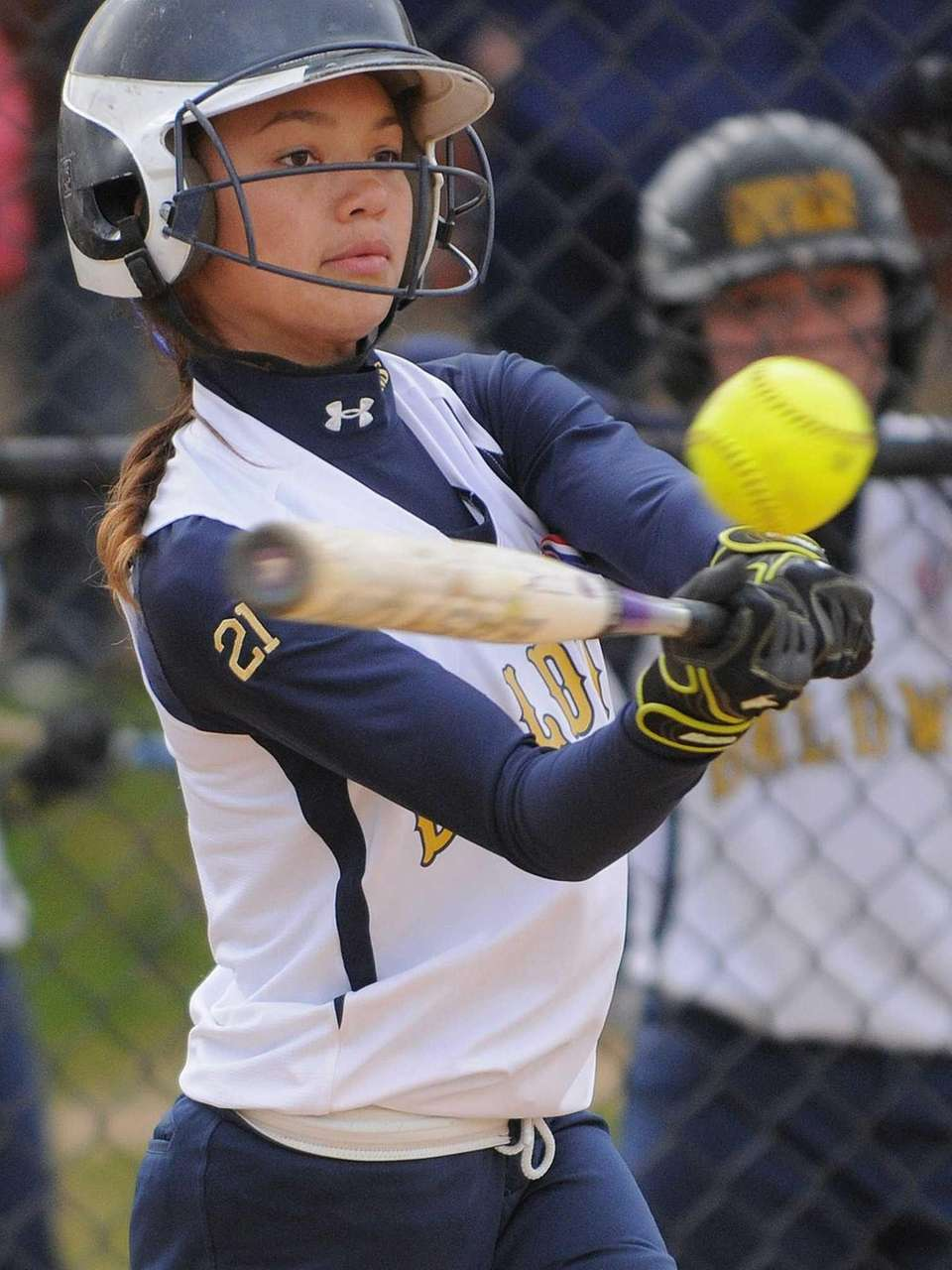 Baldwin shortstop Jade Aponte singles to start the