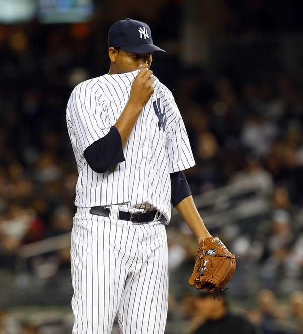 Ivan Nova of the Yankees looks on against