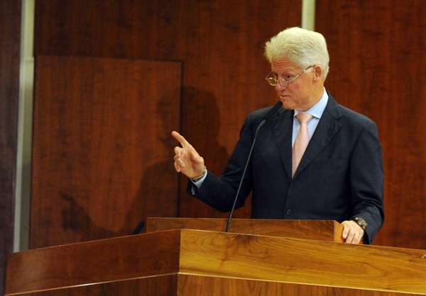 President Bill Clinton speaks to an audience at
