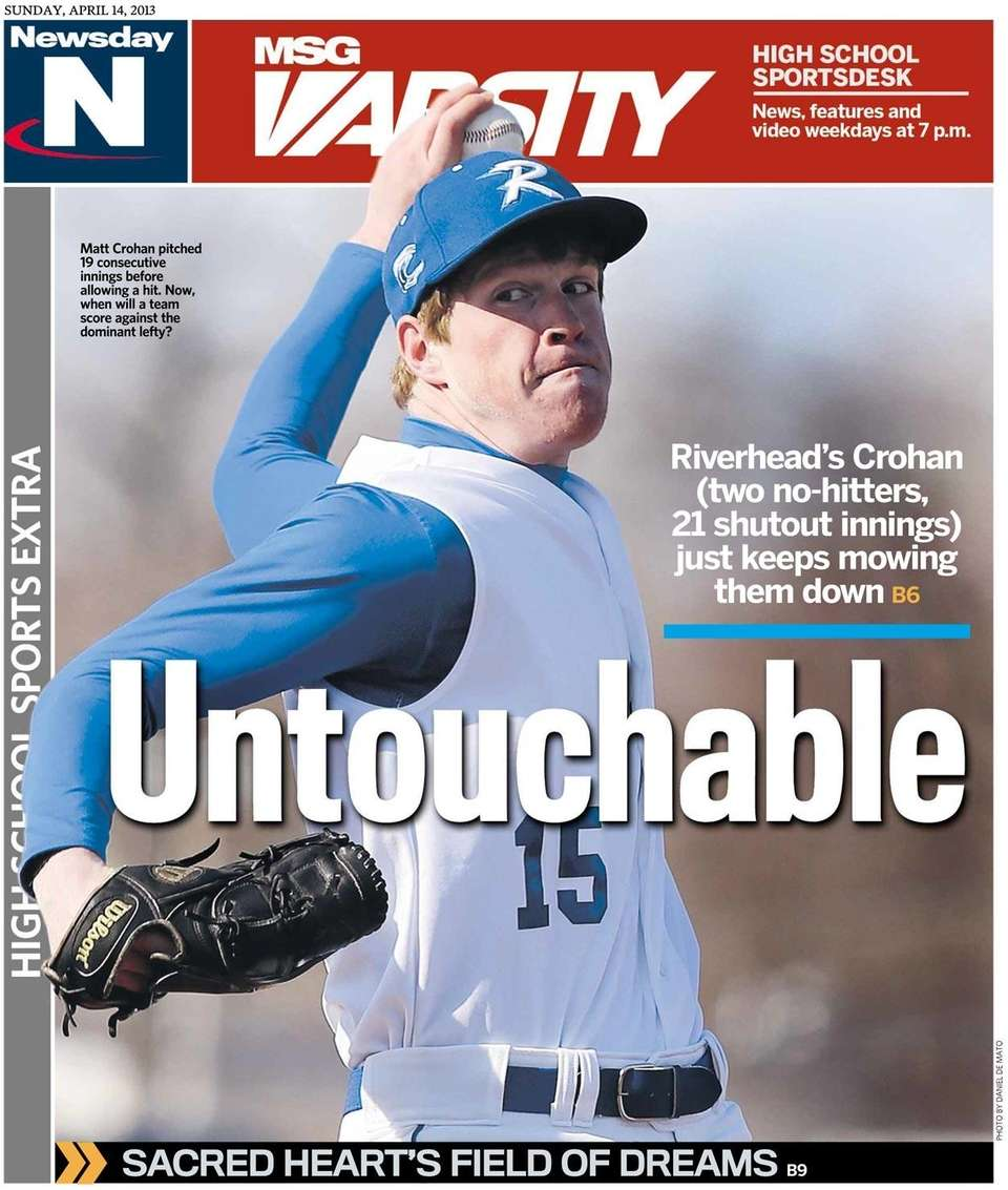 Riverhead pitcher Matt Crohan was featured on the
