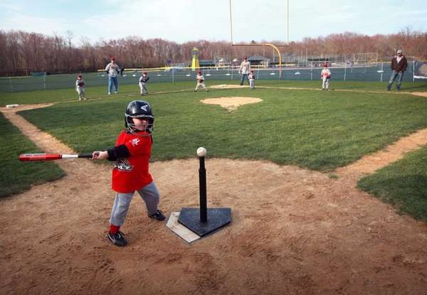 T-ball practice takes place at the Hauppauge Youth