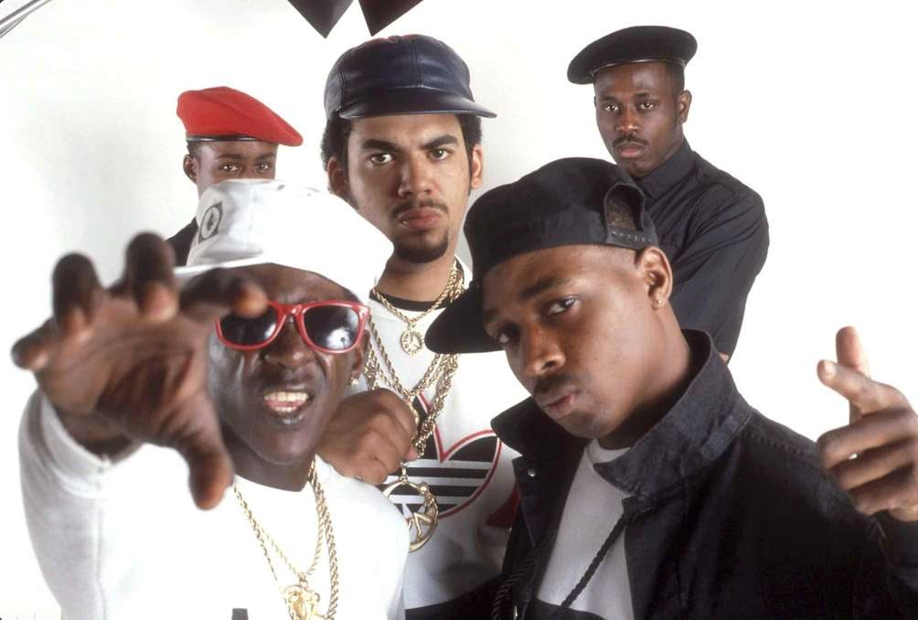 Public Enemy, clockwise from bottom left: Flavor Flav,