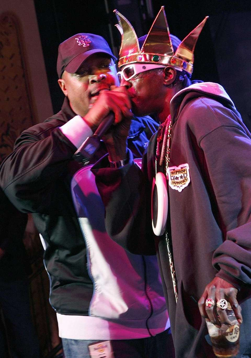 Flavor Flav, right, and Chuck D on stage