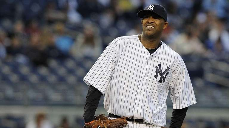 CC Sabathia reacts in the first inning of