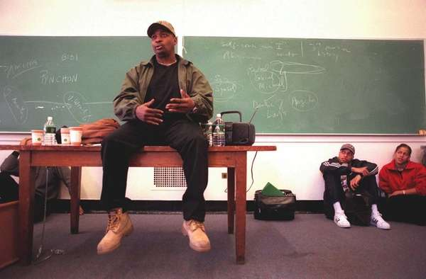 Chuck D. speaks to Columbia University students. (April