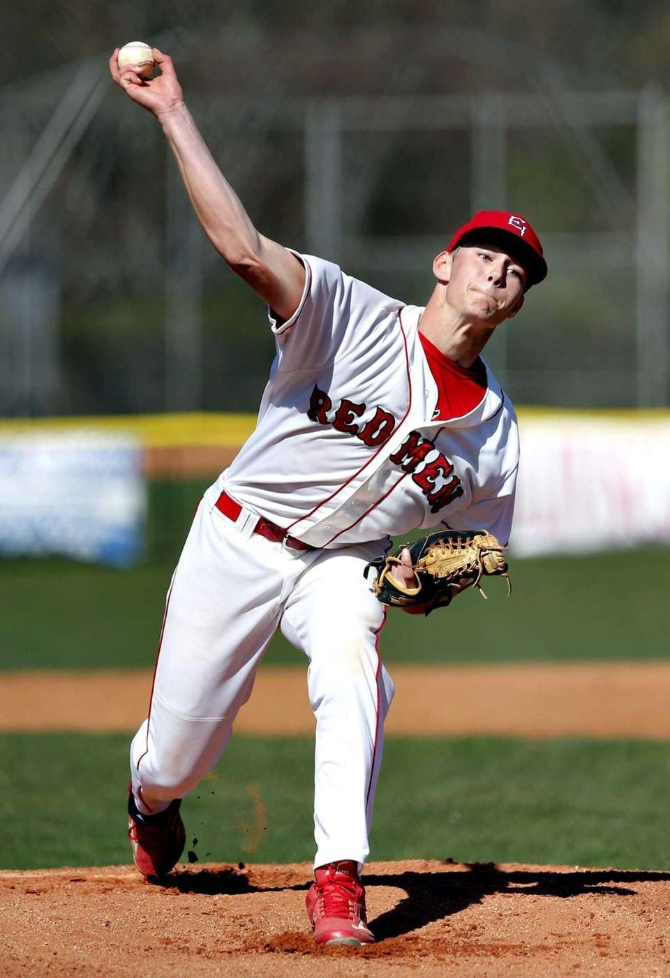 East Islip starting pitcher Dave Palmer throws against