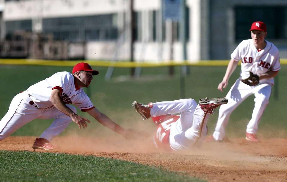 Hills West's Sean Noriega is safe at second
