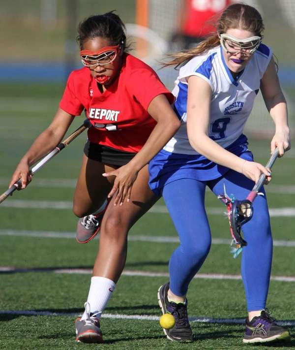 Freeport's Aysha Harris and Roslyn's Nicole Korn go