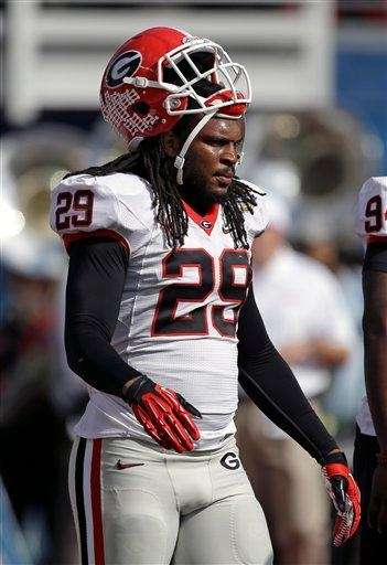 Georgia linebacker Jarvis Jones walks on the field
