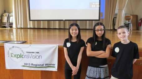 Locust Valley fifth-graders, from left, Michelle Hsu, Hana