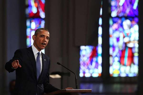 President Barack Obama speaks at an interfaith prayer
