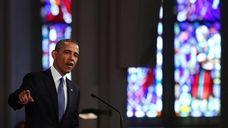 President Barack Obama speaks at an interfaith prayer