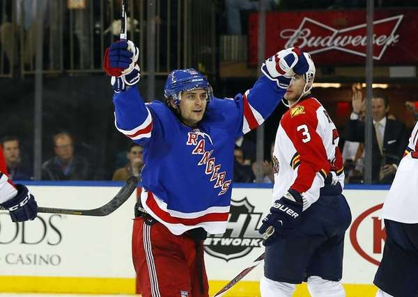 Mats Zuccarello of the Rangers celebrates his second
