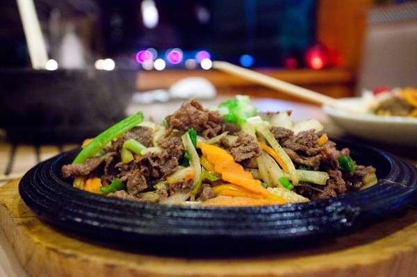 Bulgogi slices of prime sirloin are marinated in
