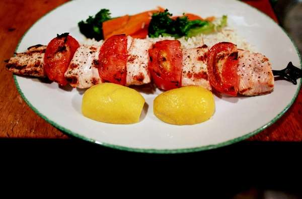 Salmon kebabs are served at Ayhan's Fish Kebab