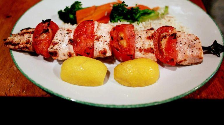 Salmon kebabs are served at Ayhan's Fish Kebab