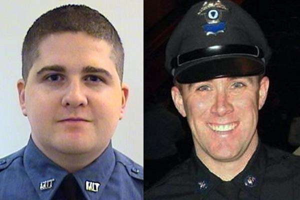 MIT Officer Sean Collier, left, was shot to