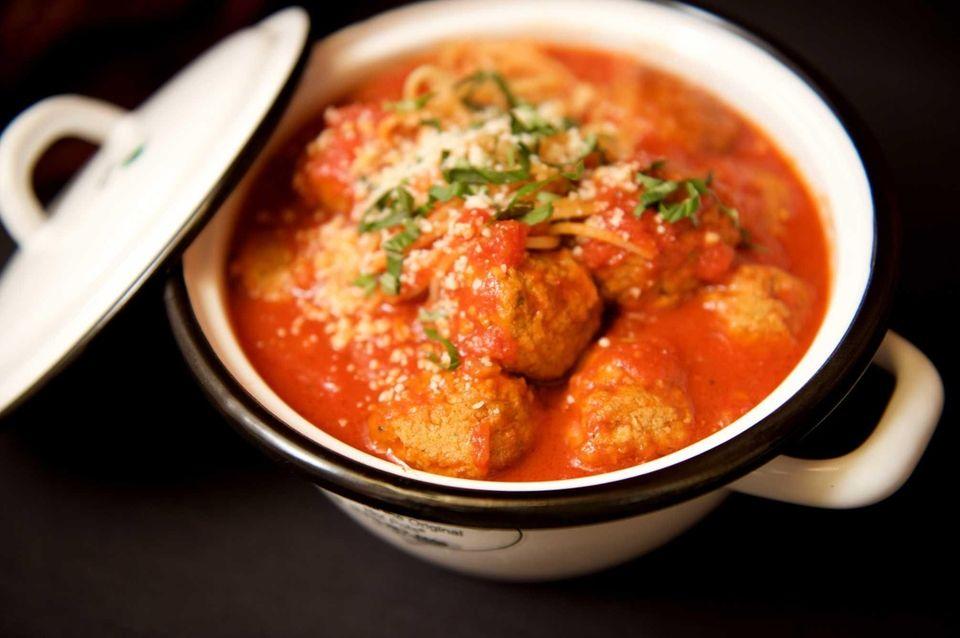 Grandma Maroni's sumptuous spaghetti and meatballs are served