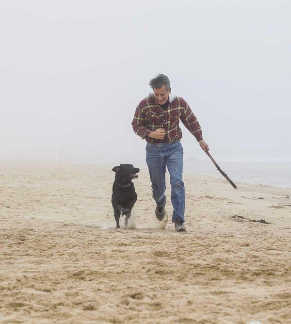 Ron Katz from East Hampton takes his dog,